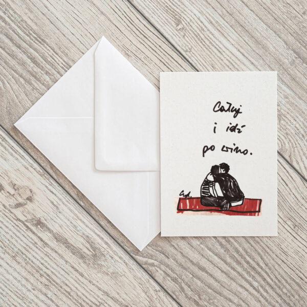 kartka pocztowa Całuj i idź po piwo