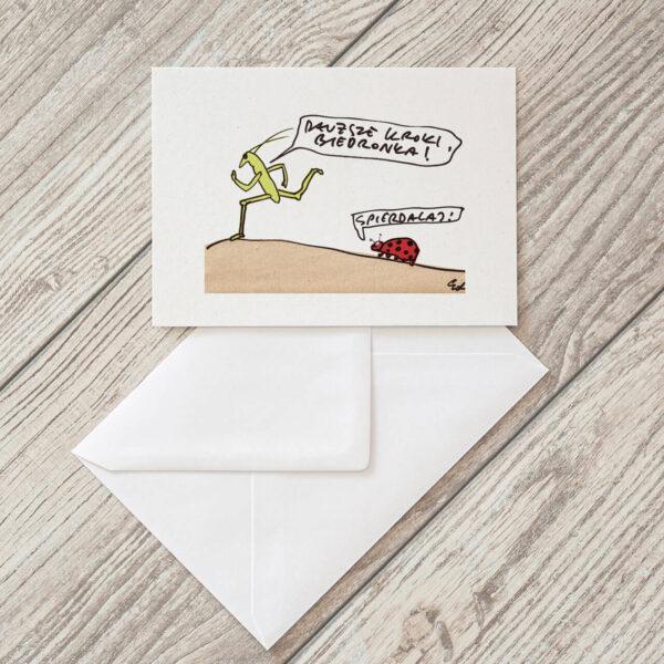kartka pocztowa o połamaniu nóg